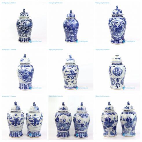 handmade blue and white ceramic temple jar