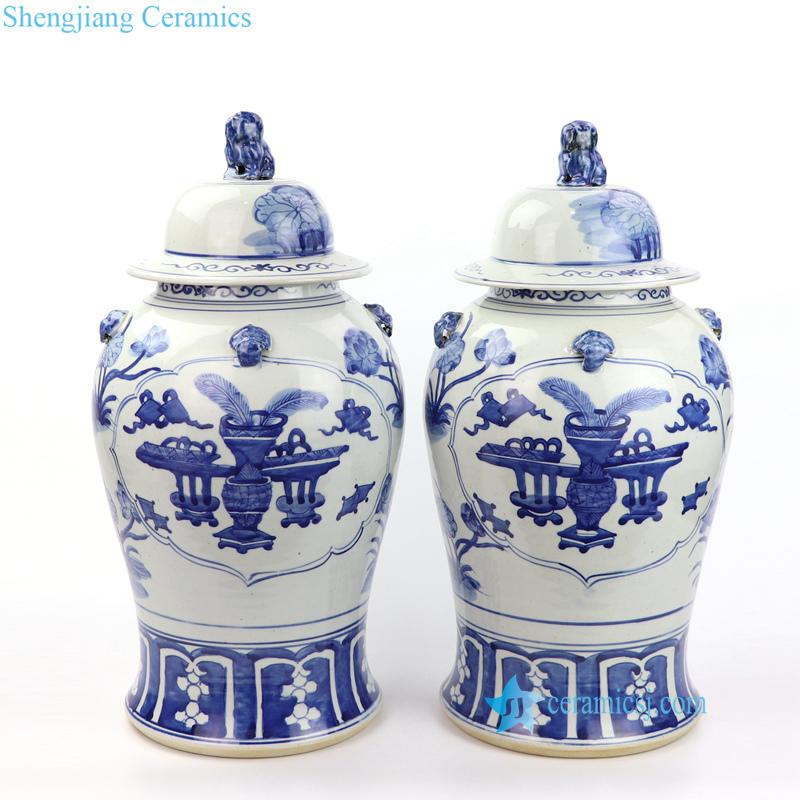 vase pattern ceramic jar with lion lid