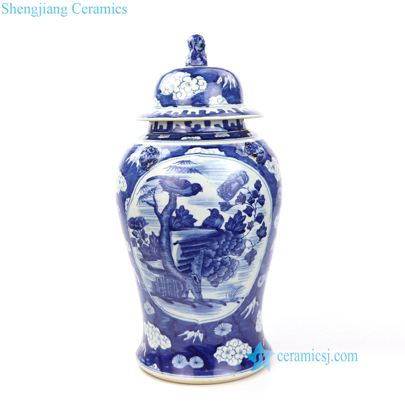 blue background bird floral ceramic jar
