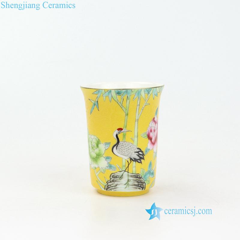 crane bamboo peony porcelain tea cup