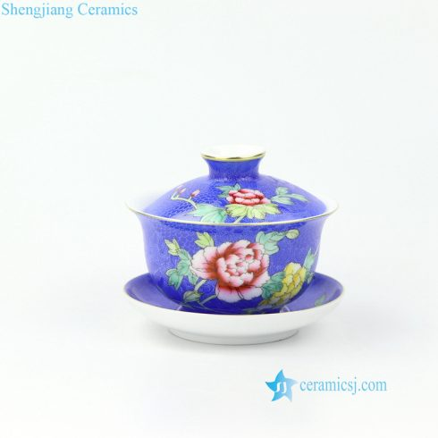 needle painting blue ceramic tea cup