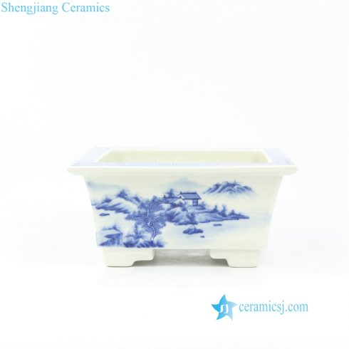 Square shallow ceramic planter