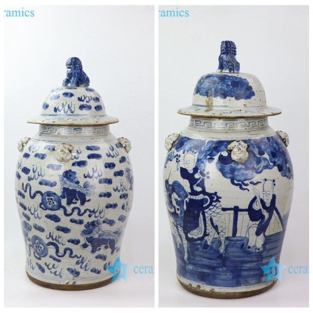 ceramic jar with lion handle