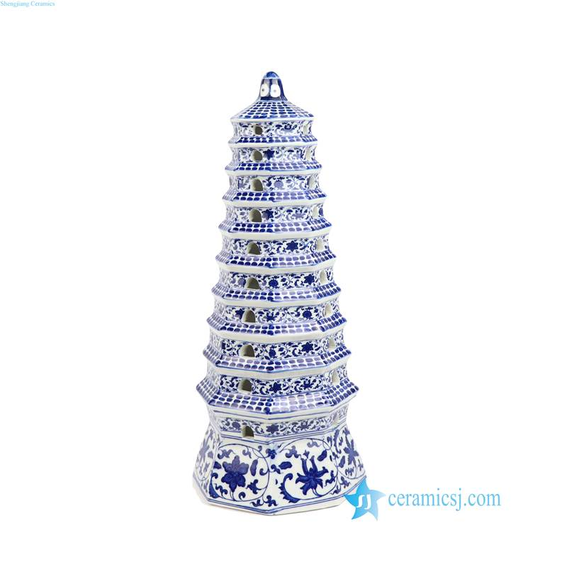 blue and white ceramic pagoda