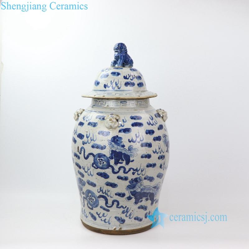 old style floral porcelain jar