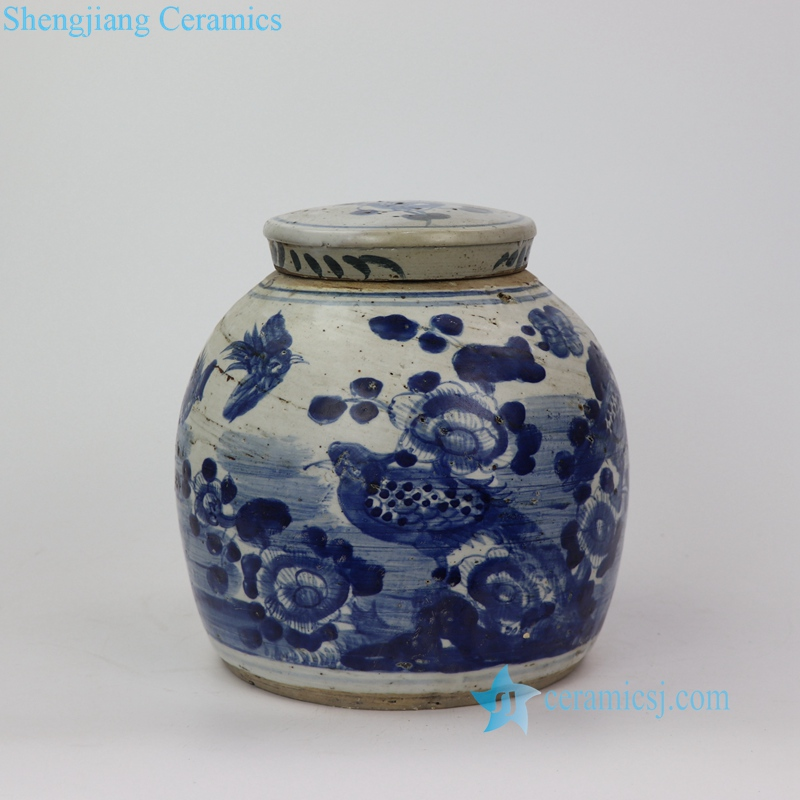 bird and flowers pattern jar