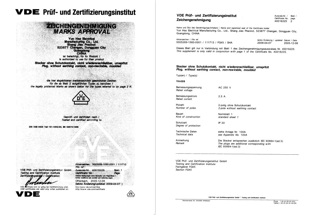 plug certificate