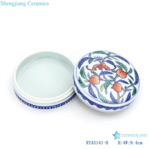 Longevity peach pattern enamel ceramic box