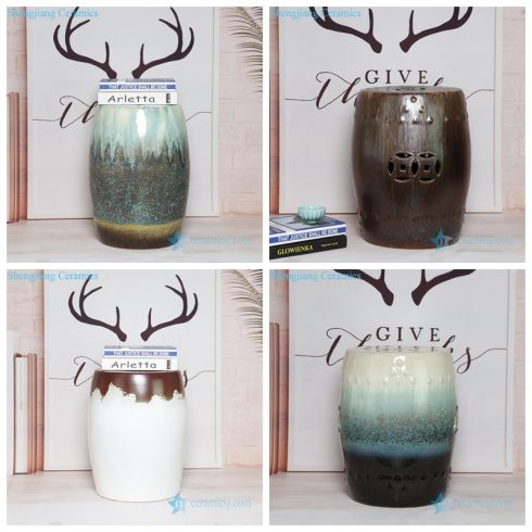 Mix melt glaze porcelain drum cool stool