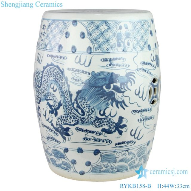 Dragon pattern with hollow out coin ceramic stool