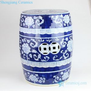 Blue and white flower porcelain drum stool