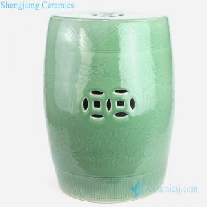 Lemon green carved ceramic stool front view
