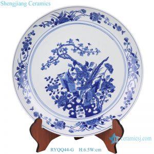 Flower and bird antique ceramic decor plate