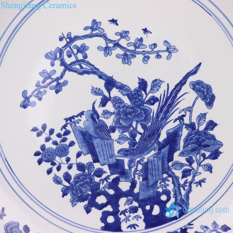 Flower and bird antique ceramic decor plate detail