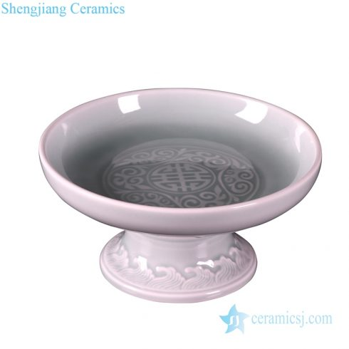 Jingdezhen ancient color glaze fruit plate