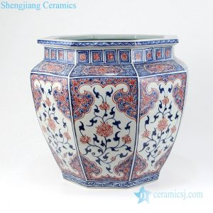 Eight - sided red glaze exquisite ceramic vat front view