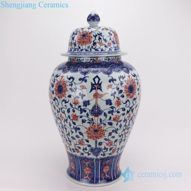 Red glaze blue and white hand drawing pot front view