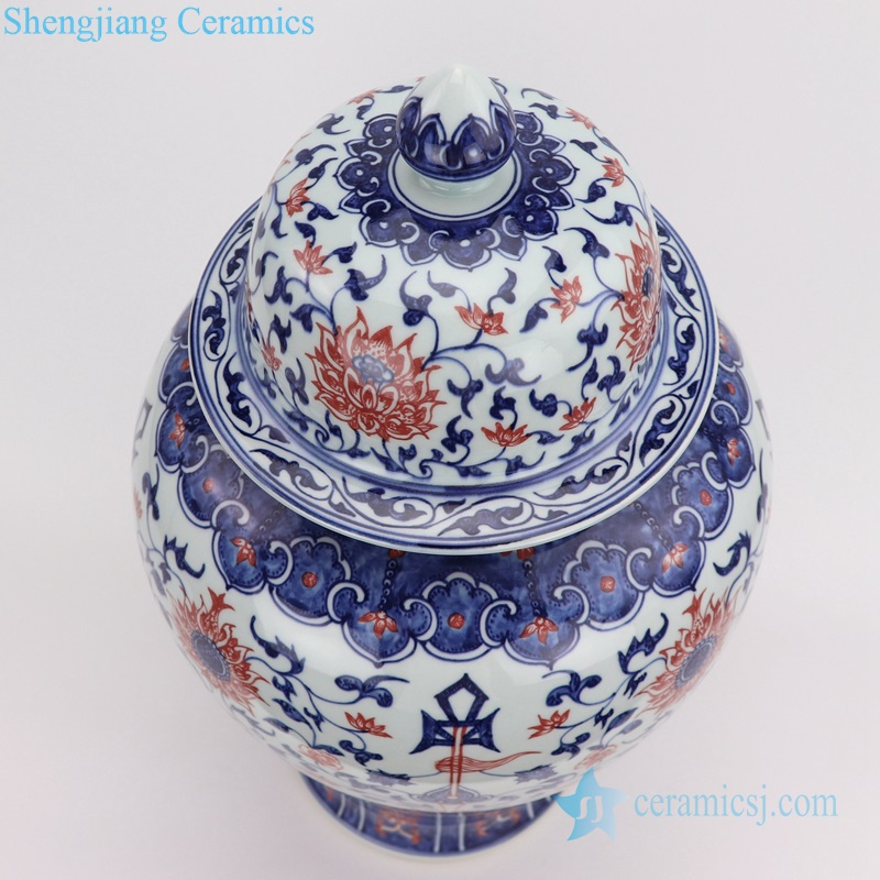 Red glaze blue and white hand drawing pot top view