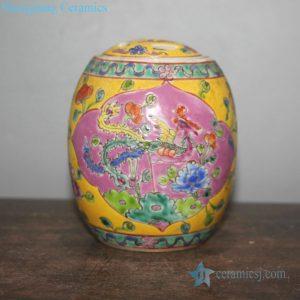 Birds adoring the phoenix painting ceramic jar