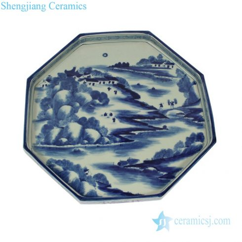 Landscape blue and white ceramic plate
