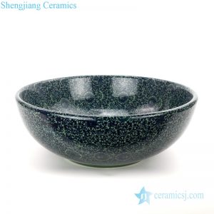 Green color glaze porcelain bowl front view