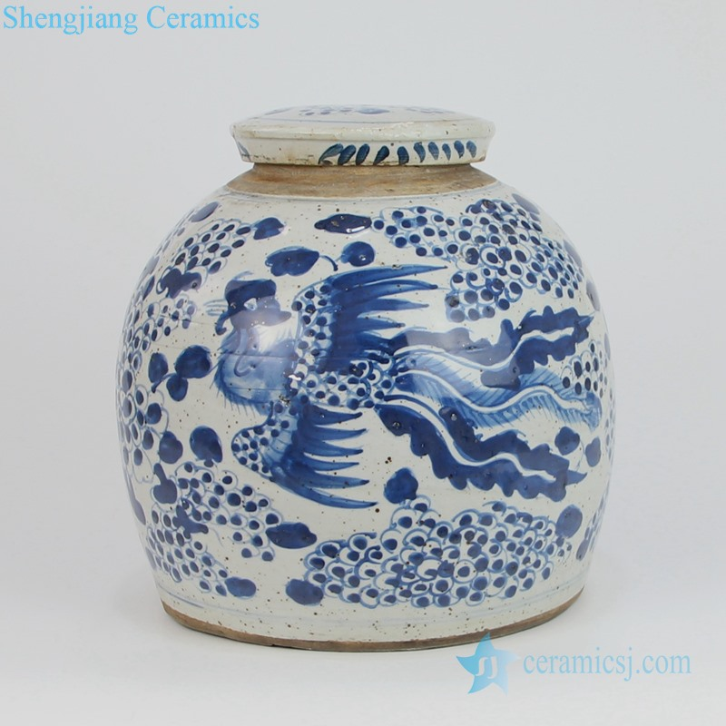Chinese blue and white teapot with lid front view