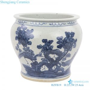 Reproduction chinese style ceramic vat front view