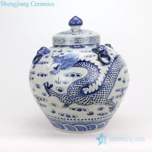 Roud antique pot with lid dragon pattern