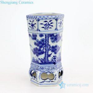 Six sides antique ceramic vase pine pattern