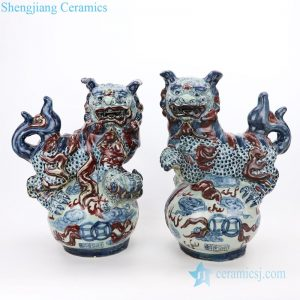 Blue and white red ceramic lion sculpture front view