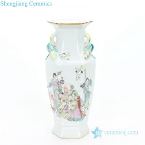 Exquisite figures hand-painted porcelain vases front view