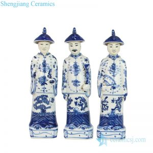 Traditional style blue and white figurine front view