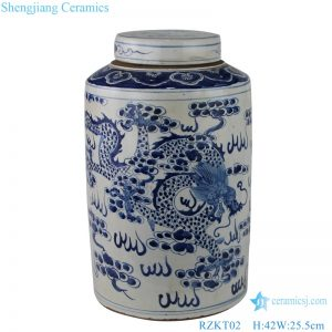 cloud dragon and phoenix patterns tea canister front view