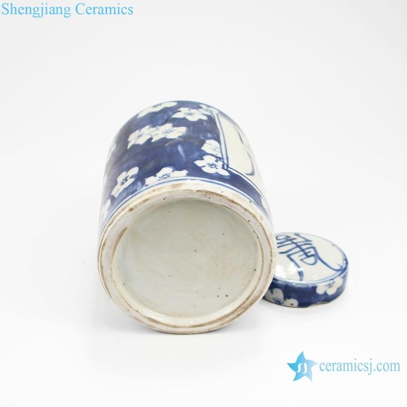 Chinese style storage ceramic tank bottom view