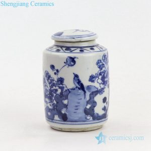 Blue and white porcelain jar front view