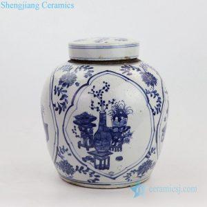 Qing dynasty landscape porcelain pot front view