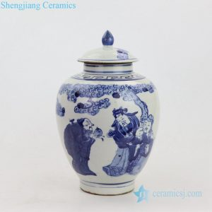 Blue and white antique ceramic pot front view