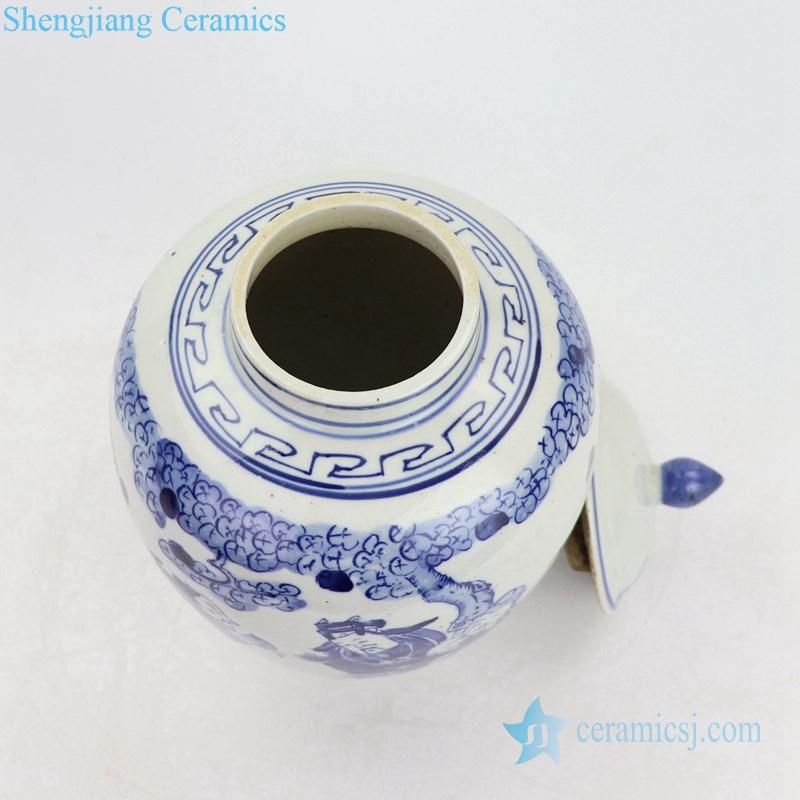 Blue and white antique ceramic pot bottle view