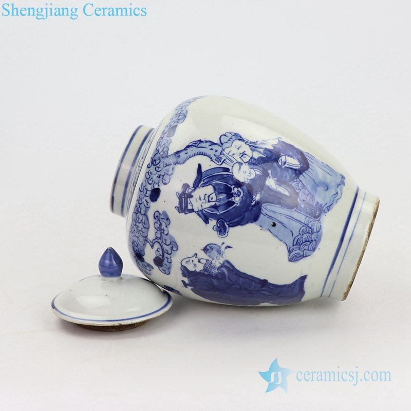 Blue and white antique ceramic pot side view