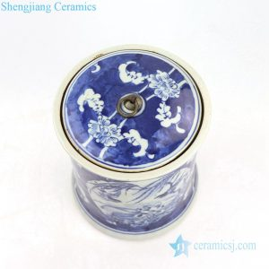 Lotus and bird ceramic tea canisters top view