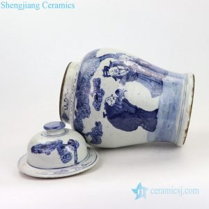 Archaize hand painted ceramic general pot front side view