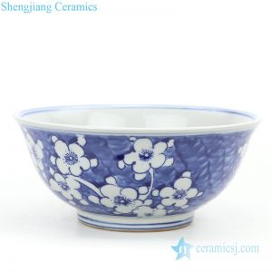 Chinese exquisite wintersweet ceramic bowl front view