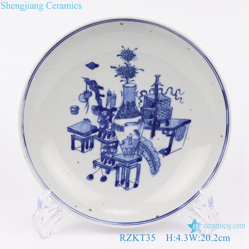 blue and white archaize plate front view