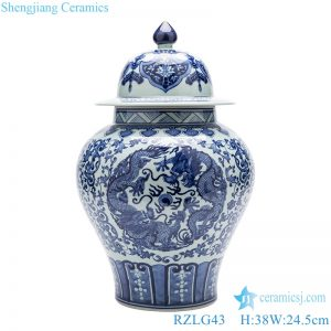 High-grade blue and white general pot front view