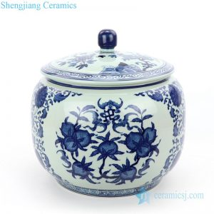 Antique blue and white tea pot front view