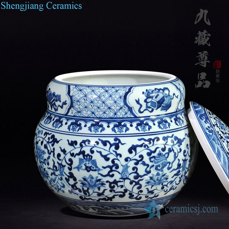 Antique hand-painted ceramic tea pot bottle view