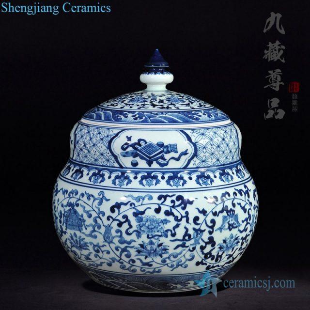 Antique hand-painted ceramic tea pot front view