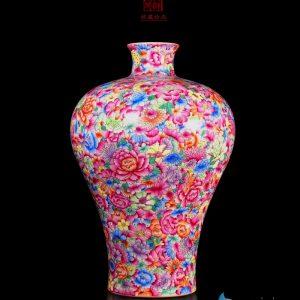 enamel porcelain multicolor big vases front view