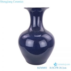 Deep blue color glaze porcelain big vases front view