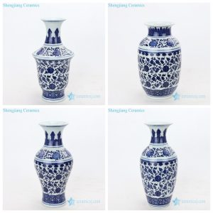 Traditional hand-painted blue and white porcelain vases